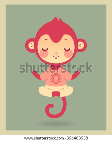 Cute cartoon flat monkey in vector. Illustration of funny monkey in yoga pose. - stock vector