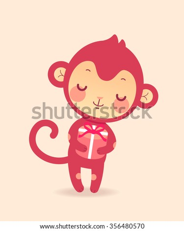 Cute cartoon flat monkey in vector. Illustration of funny monkey with gift. - stock vector