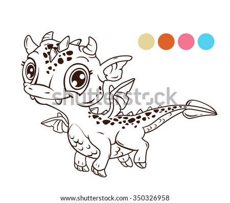 Cute cartoon flying baby dragon, contour illustration for coloring book - stock vector