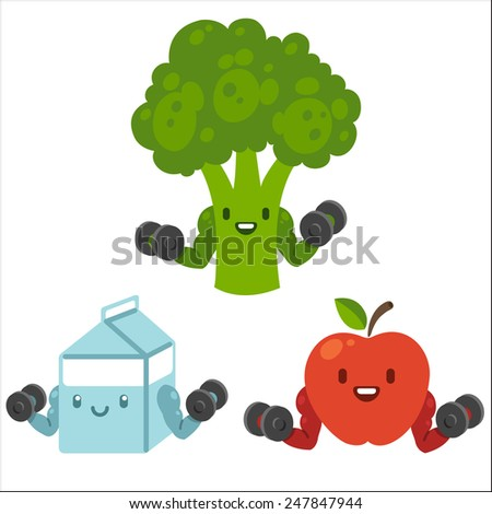 cute cartoon food with dumbbells
