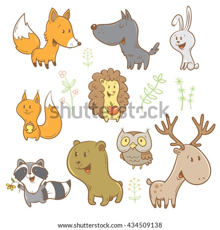 Cute cartoon forest animals set. Funny fox, wolf, squirrel, hare, raccoon, owl and deer. Different plants. Vector image. Children's illustration. - stock vector