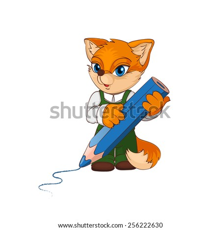 Cute cartoon fox character with big pencil. Vector illustration eps 10. - stock vector