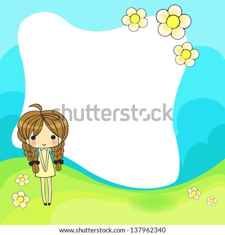 cute cartoon frame - stock vector
