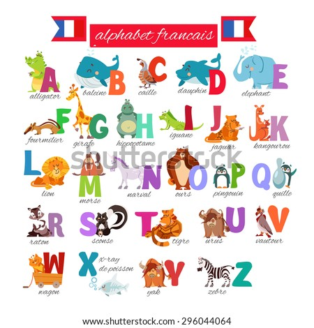 Cute cartoon french illustrated alphabet with animals. Alphabet francais. Vector illustration
