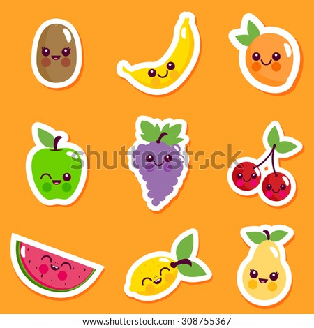 Cute cartoon fruit characters sticker set.