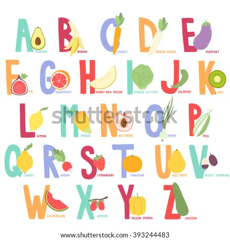 Cute Cartoon Fruits And Vegetables Alphabet For Kids Funny Learning Poster Schools Letters