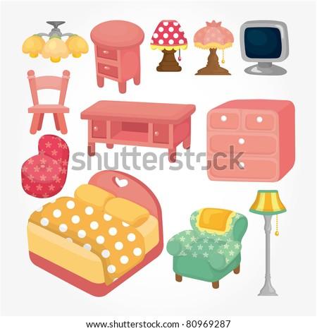 cute cartoon furniture icon set - stock vector