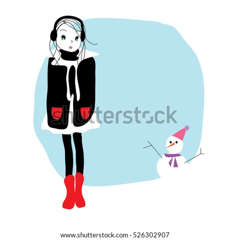 Cute cartoon girl and snowman,draw vector illustration winter design.