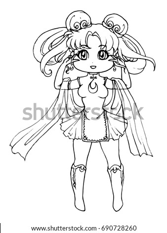 Cute Cartoon Girl In Chinese Dress Coloring Book Page For Adults Kids Hand