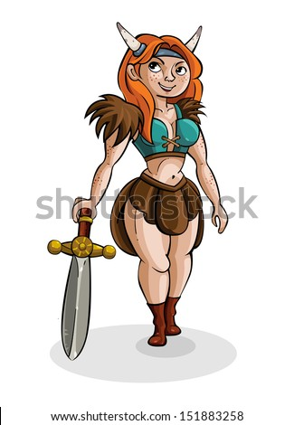 Cute Cartoon Girl Viking Medieval Warrior With Guns Character
