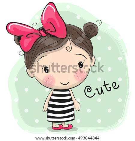 Cute Cartoon Girl with a bow in a striped dress