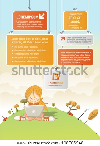 Cute cartoon girl with laptop on green park with boards for template / design. - stock vector