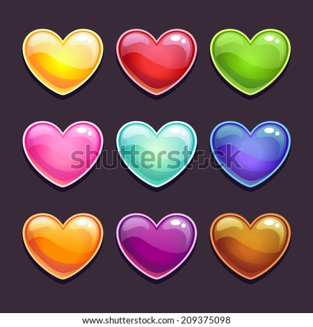 Cute cartoon glossy hearts in different colors, isolated vector on the dark colors - stock vector