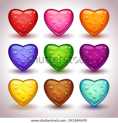 Cute cartoon glossy hearts with bubbles in different colors, isolated vectors  - stock vector