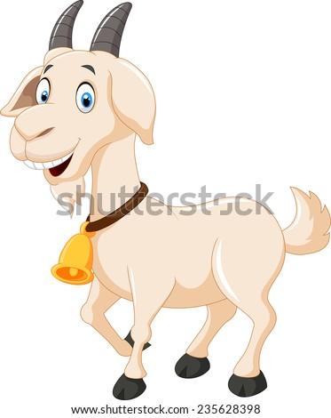 Cute cartoon goat - stock vector