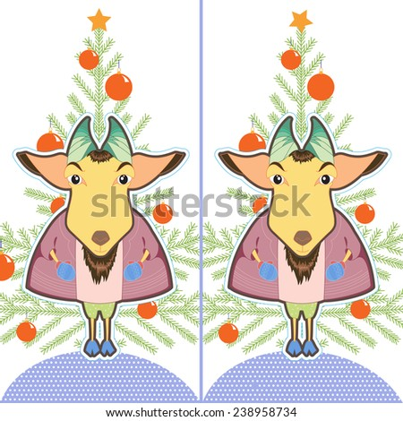 Cute cartoon Goat ling. Find the ten differences between the two pictures. Puzzle for kids. New Year brain teaser. Eps 8 - stock vector