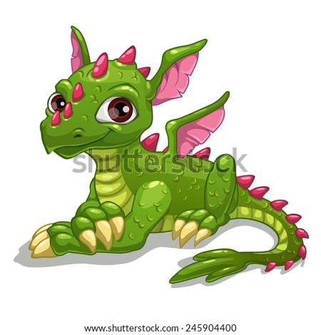 Cute cartoon green dragon, isolated vector illustration - stock vector