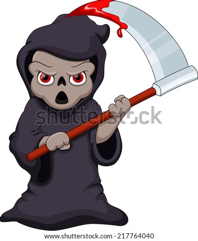 Cute cartoon Grim Reaper with a bloody scythe  - stock vector