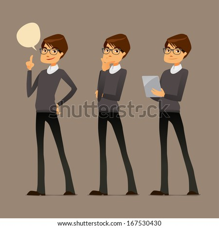 cute cartoon guy with tablet, in various poses - stock vector