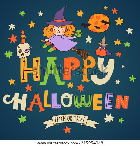 Cute cartoon Halloween card in bright colors - stock vector