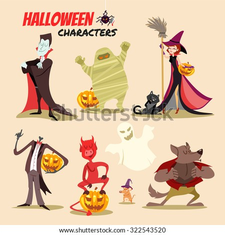 Cute cartoon halloween characters icon set. Vampire, mummy,witch with cat, devil,ghost,werewolf. Vector illustration  - stock vector