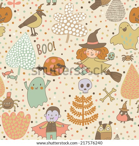 Cute cartoon Halloween seamless pattern made of children in holiday costumes and holiday symbols in vector - stock vector
