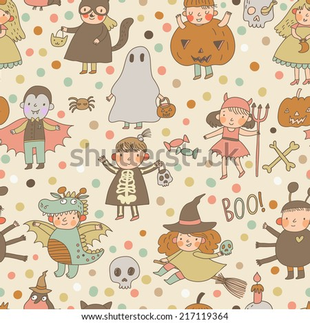 Cute cartoon Halloween seamless pattern made of children in holiday costumes: princess, ghost, pumpkin, spider, dragon, devil, witch, vampire, cat - stock vector