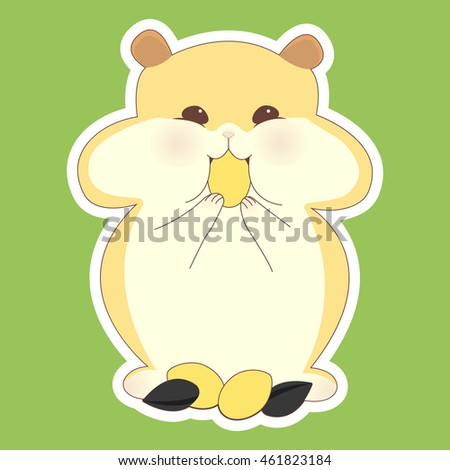 Cute cartoon. Hamster eats seeds. Postcard, background, sticker, wall prints with animal for kids. Vector illustration