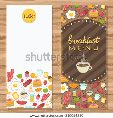 Cute cartoon hand drawn brochure template with breakfast food. Coffee, egg, bacon, toast, pancakes etc..