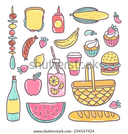 cute cartoon hand drawn food image. Bread, ketchup, bbq, banana, watermelon, burger, lemonade, coffee, apple... - stock vector