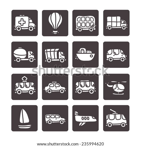 Cute cartoon hand drawn transport icon set with emergency, double decker bus, yellow taxi, truck, airplane, tram, trolleybus, balloon, helicopter, boat, jeep, minivan, concrete mixer. - stock vector