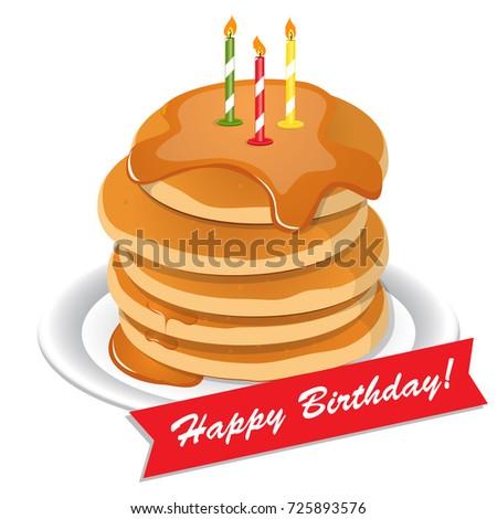 Cute Cartoon Happy Birthday Cake Candles Stock Vector HD Royalty
