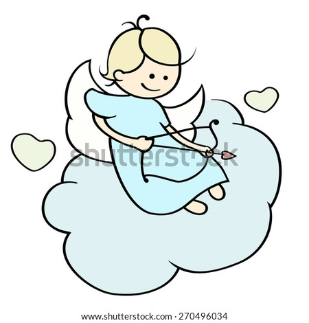 Cute cartoon happy cupid flying on cloud.  Funny little Angel with  arrows and hearts aiming at someone. Illustration of a Valentine's Day. Hand-drawn vector isolated on white. - stock vector