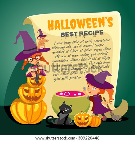 Cute cartoon happy halloween recipe design template with two little witches preparing magic brew in witch cauldron. Vector illustration