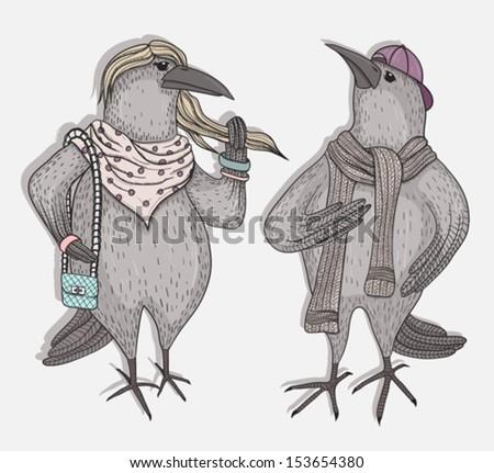 Cute cartoon hipster crows - stock vector