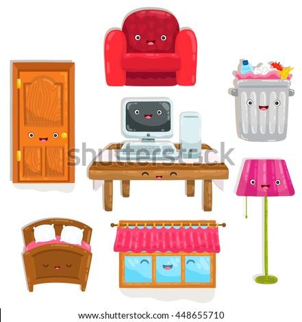 cute cartoon home objects. Chair, table, desk, trash bin, lamp, computer, bed, window and door. - stock vector