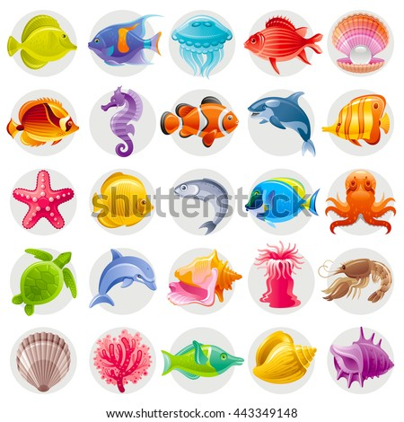 Cute cartoon icon set with underwater animals. Sea horse, fishes, turtle, pearl scallop, dolphin, whale, octopus, starfish, shell. Vector illustrations for beach tourism, summer travel, diving club - stock vector