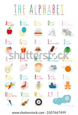 Cute cartoon illustrated alphabet names objects stock vector cute cartoon illustrated alphabet with names and objects english alphabet learn to read altavistaventures Images