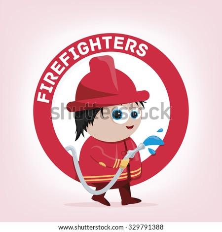 cute cartoon illustration of a firefighter  - stock vector