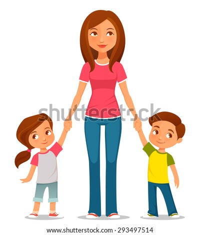 cute cartoon illustration of mother with two kids - stock vector