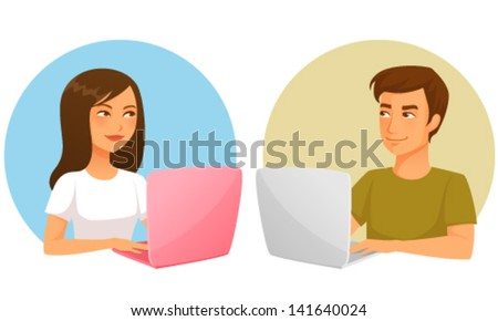 cute cartoon illustration of young girl and boy with laptop - stock vector