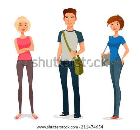 cute cartoon illustration of young people in casual fashion - stock vector