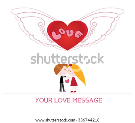 cute cartoon illustration of young woman and man in love, love card. - stock vector