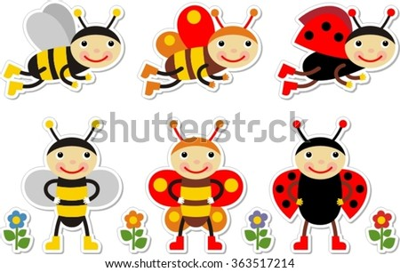 cute cartoon insect set,  ladybug, butterfly,  bee. Isolate,  vector illustration