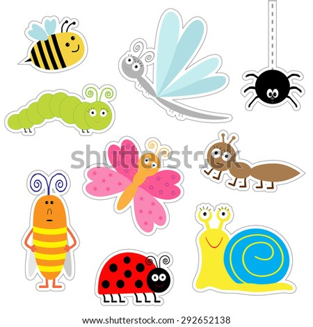 Cute cartoon insect sticker set. Ladybug, dragonfly, butterfly, caterpillar, ant, spider, cockroach, snail. Isolated. Flat design Vector illustration - stock vector