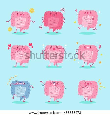 cute cartoon intestine different emoji on stock vector royalty free