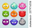 Cute cartoon jelly characters, simple round vector characters with different colors and emotions - stock