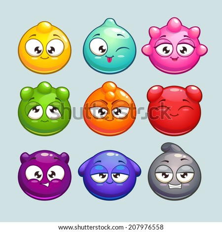 Cute cartoon jelly characters, simple round vector characters with different colors and emotions - stock vector