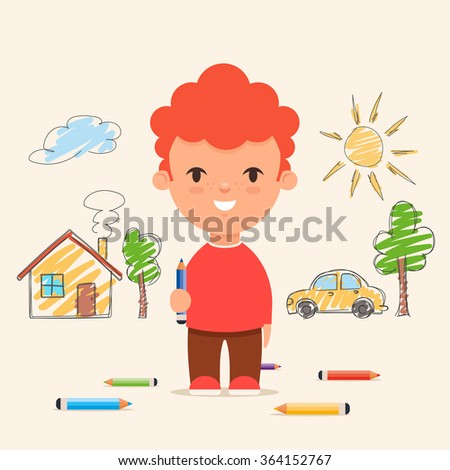 cute cartoon kid drawing house car and trees on the wall colorful vector illustration - Cartoon Kid Drawing