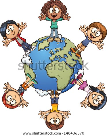 Cute cartoon kids around the world. Vector clip art illustration with simple gradients. Each element on a separate layer. - stock vector